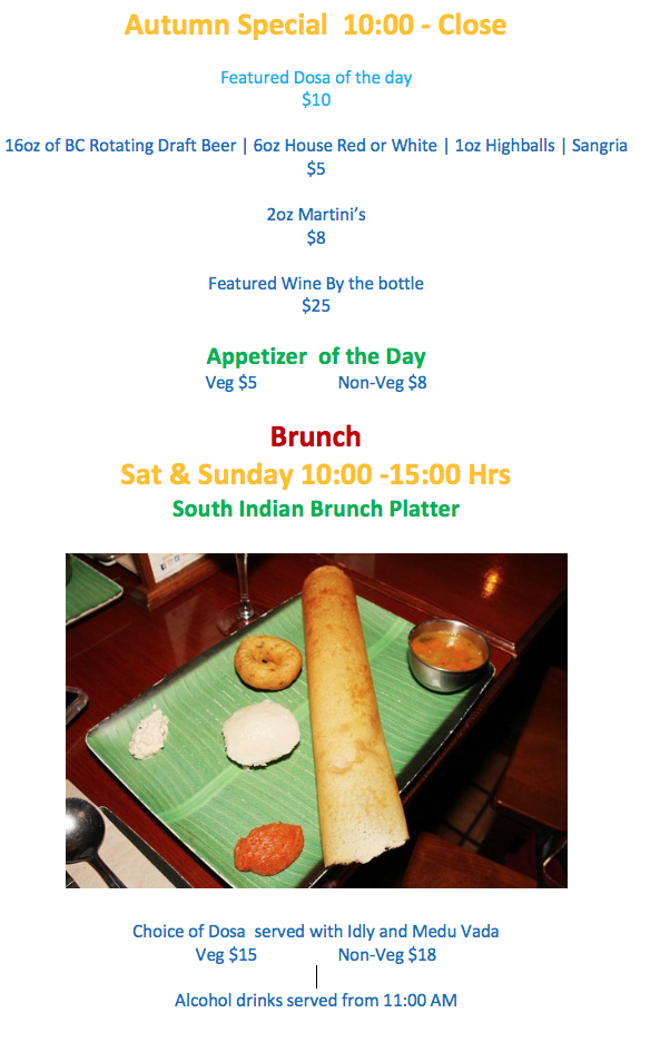 Breakfast,Brunch,Autumn,Happy Hour,Westend,Vancouver,Gluten Free, Friendly, Cozy, Chai, Mango Lassi, Indian, South Indian, Dosa House